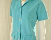 """1960's/ 1970's Teal Blue Skirt/Jacket Set Ensemble 38"""" Bust"""