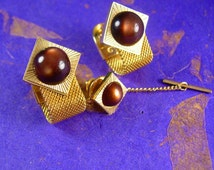 MOONGLOW Elegance Vintage Cufflinks Mesh Wrap with Tie Tack Set Brown and Gold Clothing cuff link set cravat holder Accessories