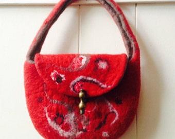 Felt handbag. wool felted handbag. merino wool felt bag. Red handbag