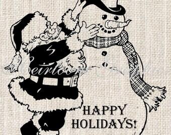 Christmas Iron On Digital Download Christmas Snowman Santa Vintage Transfer