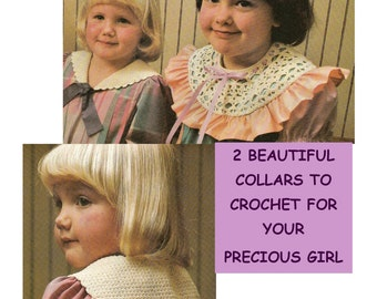 Digital Download 2 Charming Crocheted Collars Pattern for Little Girls - PDF Pattern File for 2 Crocheted Child's Collars Crochet Supplies