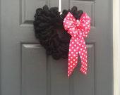ON SALE Valentine's Day Heart Wreath, Pink Polka Dots, Black and Pink Wreath, Black Heart Wreath