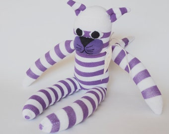 Sock cat, sock animal, soft plush toy cat. Cooper Cat.