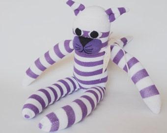Sock monkey, sock animal, soft plush toy cat. Cooper Cat.
