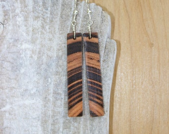 Exotic Wood - Beautiful Grain Two Tone Peach and Chocolate Brown Wooden Earrings with Sterling Silver French Ear Wires