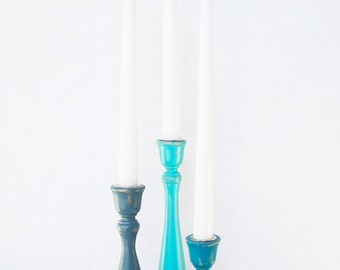 Wooden Candlesticks - Set of Three Hand Painted Shabby Chic Distressed Wood Candle Stick Holder - Aqua Ocean