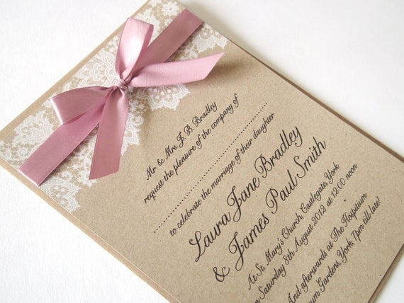 ribbon and lace wedding invitation sample With wedding invitations with ribbons and lace