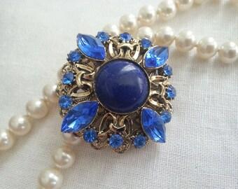 VINTAGE STACKED Brooch Azure Sapphire Bridal Sash Brooch Scarf Brooch