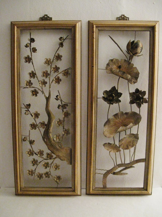 Oriental Metal Wall Decor : Vintage oriental decororiental wall hangingmetal