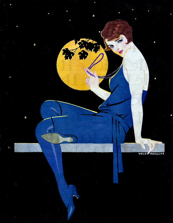 Full moon art deco vintage illustration digital download for Art deco illustration