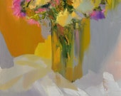 Fall painting Floral painting still life, Flowers painting yellow canvas art floral art, yellow pink wall art canvas, contemporary painting