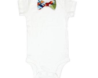 Baby Bow Tie Bodysuit - Madras Plaid  - Just Like Dad - Preppy