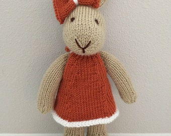Knitted Bunny Rabbit Stuffed Toy in Dress - Stuffed Bunny - Stuffed Animal - Soft Toy - Knitted Bunny