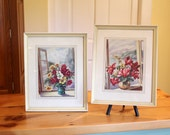 Bright Botanicals... Pair of Vintage Framed Botanical Prints in Fuschia Pink, Yellow, and White - Daisies, Nicotiana, Cyclamen
