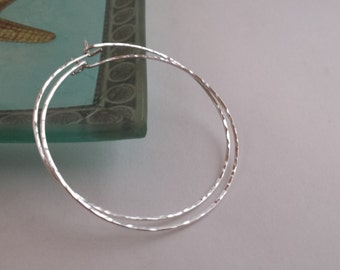 Large Sterling Silver Hammered Hoop Earrings  2 inches