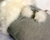 Off White Fox faux fur with Silver Dog Sleeping Bag snuggle sack