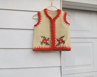 Vintage children's ethnic wool embroidered vest with tassles