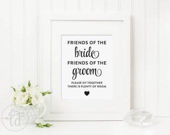 Sit Together Wedding Sign - Digital File - Print at Home - INSTANT DOWNLOAD