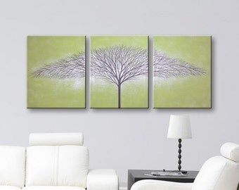 SALE Canvas Art Wall Decor Tree Of Life Painting Home Decor Tree Artwork Olive Green 48x20 Original Paintings