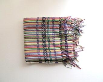 90s Esme Scarf Colorful Striped Rainbow Stripes Fringe All Season Scarf Soft Bohemian Oversized Shawl Made in Germany