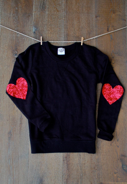 Valentines Day Sequin Heart Elbow Patch Sweatshirt Shirt Top
