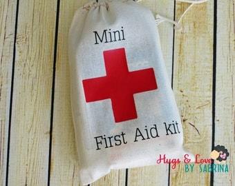 Mini First Aid Kit bag - drawstring cotton bag