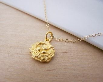 Dainty Gold Filled Bird Nest Charm Pendant 14k Gold Filled Necklace / Gift for Her / Simple Jewelry
