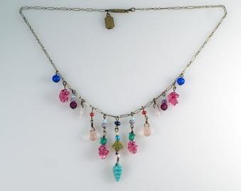 Art Deco Necklace, Vintage Pididdly Links Art Nouveau Revival Multi Color Glass Drops Bib Necklace