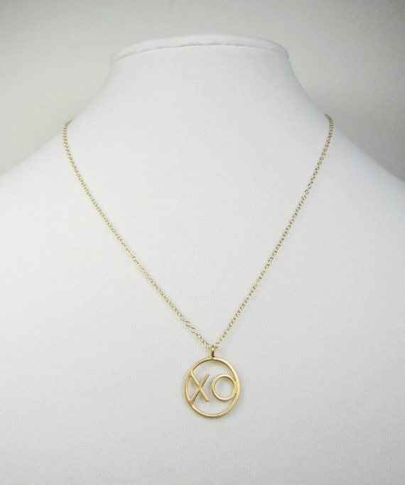 gold vermeil xo pendant necklace gold by turtlecovedesigns