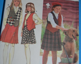 SImplicity 9148 Girls and Chubbies Separates  Skirt and Vest Sewing Pattern - UNCUT - Size 7 8 10 12 14