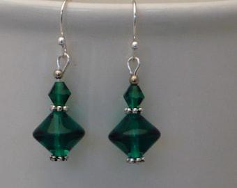 Emerald green Czech glass bead earrings