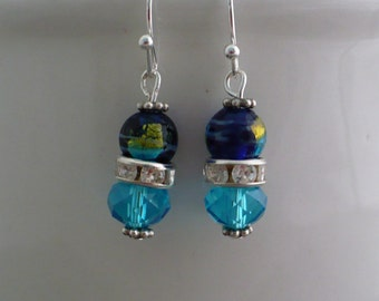 Picasso Czech bead with crystal and rhinestones earrings