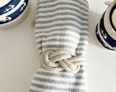 Set -18 nautical wedding napkin ties/rings-figure 8 knot. Natural white cotton rope.