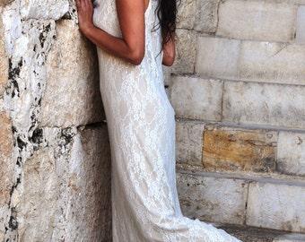 White long lace dress and slip, boho wedding dress, plus size wedding dress, fall lace wedding dress, cowl neck sheer dress by Pazitive