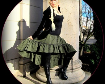 Steampunk Skirt ~ Green Stripes Pirate Fairy ~ Victorian Bustle Absinthe Costume ~ tribal belly dancers and wild wenches ~ Gypsy Skirt Garb