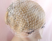 bridal birdcage veil with rhinestone adornment, small birdcage, wedding bird cage veil, Russian veiling ivory, beige, white, pink Style 630