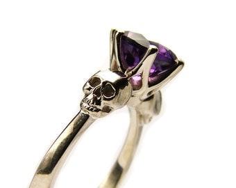Skull Engagement Ring in White Gold, Goth Promise Ring, Goth Engagement Ring with Amethyst Skull Jewel Ring Red Gem Memento Mori