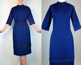 Vintage 1950s Royal Blue Tiered Wool Hourglass Dress w/ Art Deco Beading. Cocktail Party Knit Mod Wiggle Holiday Sheath. Small - Medium