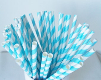 50 Light blue striped paper straws - blue and white decorative paper straws - blue party supplies - blue party straws - party table decor