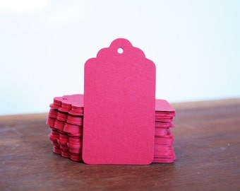 25 Red Scalloped Gift Tags 40x70mm, Red Hang Tags, Red Tags, Valentines Day