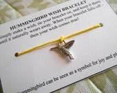 Hummingbird - Wish Bracelet - Choose your color