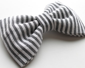 Gray and White Striped Hair Bow - Gray and White Striped Bow Tie - Striped Hair Bow - Striped Bow Tie - Gray Bow Tie - Gray Hair Bow