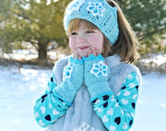 RTS Snow Queen Winter Crown and Fingerless Mitten Set w. Snowflakes Aqua Girls Crochet Winter Princess Ear Warmer and Mittens READY to SHIP