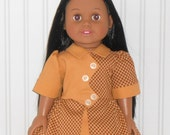Gold and Brown Check Dress fits 18 inch Girl Dolls 1940 Vintage Inspired Dress with White Slip American Doll Clothes