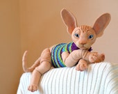 Needle felted cat Sphynx. BJD from wool. Animal portrait. Collectible toy. OOAK doll. Feline lovers gift