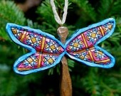 Hand Carved Quilted Dragonfly Ornament Rose Turquoise Gift
