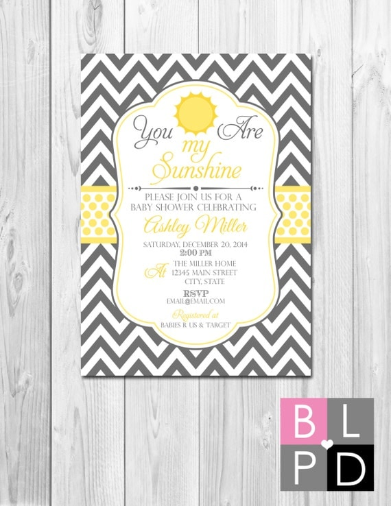 you are my sunshine baby shower invitation large grey chevron