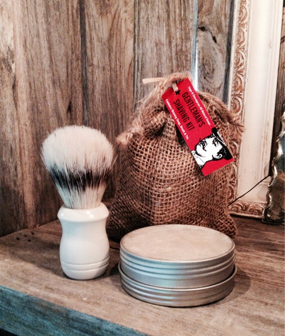 SHAVING GIFT KIT {{Shaving Soap, Metal Tin, Shaving Brush, Burlap Gift Bag}}