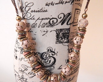 Long Pink and Gold Beaded Necklace