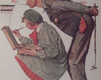 HAYSEED CRITIC By Norman Rockwell Reproduction Print Christmas Present 1928 The Saturday Evening Post Bookplate Ready To Frame